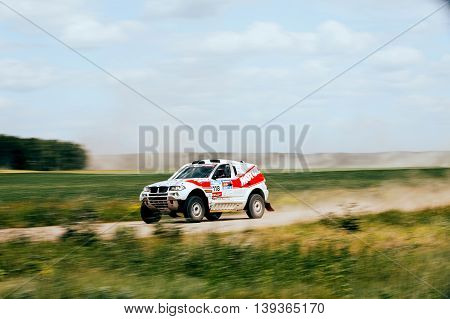 Filimonovo Russia - July 11 2016: rally car rides at high speed on road during Silk way rally