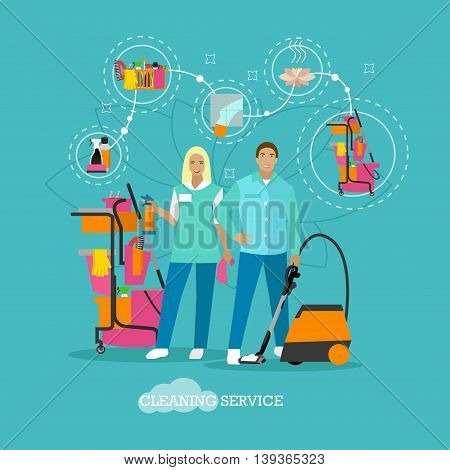 Cleaning service concept vector illustration in flat style. Housekeeping company team at work. House cleaning tools, design elements and icons.