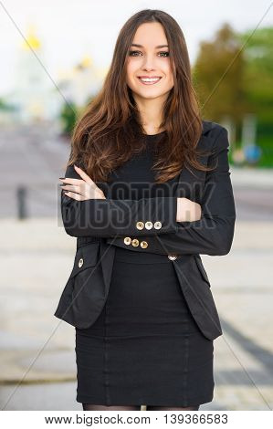 Cheerful Woman In Black Clothes