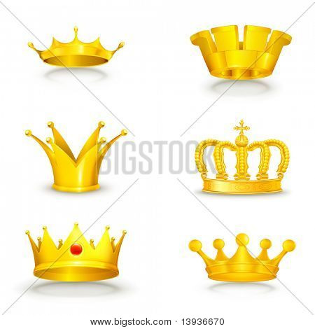 Crown set on white, eps10