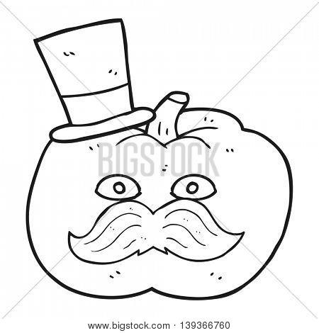 freehand drawn black and white cartoon posh tomato