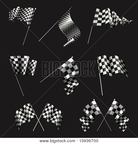 Checkered Flags set on black, 10eps
