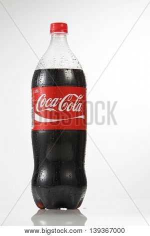 Kuala Lumpur Malaysia,18th July 2016, 1.5 litre cocacola drinks on the white background