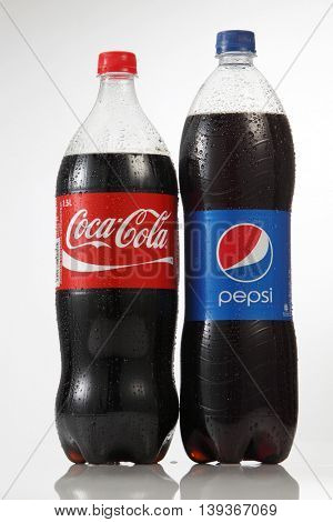 Kuala Lumpur Malaysia,18th July 2016,Bottles of 1.5 litre Coca Cola and Pepsi isolated on white background