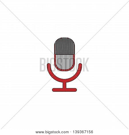 Retro microphone. Red flat simple modern illustration icon with stroke. Collection concept vector pictogram for infographic project and logo