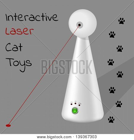 interactive laser toy for cats on a gray background with cat traces