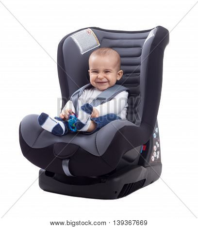 Smiling Baby Smiling And Keep Safe In Car Seat