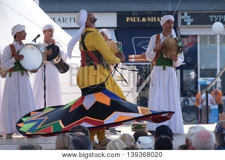 ZAGREB, CROATIA, JULY 21:Members of Al Tannoura Folklore Troupe, Cairo, Egypt during the 50th International Folklore Festival in center of Zagreb, Croatia on July 21, 2016