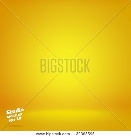 Vector,empty Vivid Lighting Yellow Studio Room Background ,template Mock Up For Display Or Montage O
