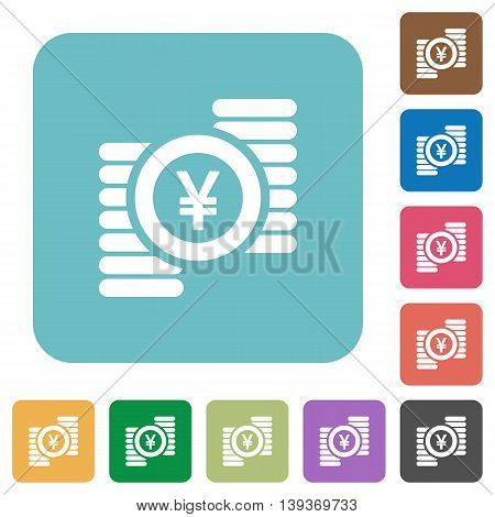 Flat yen coins icons on rounded square color backgrounds.