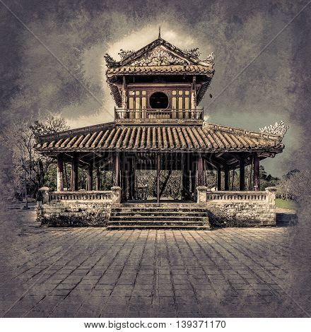 The temple in the Imperial Palace citadel at Hue in Vietnam. Hue, a UNESCO World Heritage site. Vintage painting, background illustration, beautiful picture, travel texture poster
