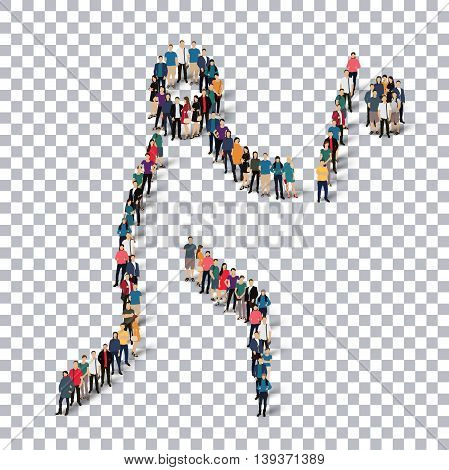 Isometric set of styles, people, sports, baseball , web infographics concept of a crowded square, flat 3d. Crowd point group forming a predetermined shape. Creative people.  illustration. transparent background
