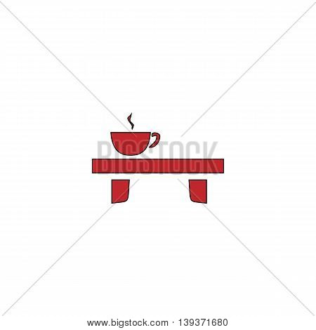 Cup on the table. Red flat simple modern illustration icon with stroke. Collection concept vector pictogram for infographic project and logo