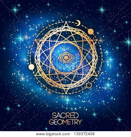 Sacred Geometry Emblem with Eye in Star on Shining Galaxy Space Background. Vector illustration. Geometric Logo Design, Spirograph Interweaving Lines. Alchemy Symbol, Occult and Mystic Sign.
