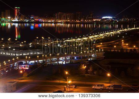 KAZAN, RUSSIA - MAY 01, 2016: Night Kazan. Views on the waterfrontand river Kazanka.  Tourist landmark of the city  Kazan
