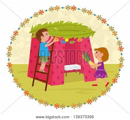 Cute clip art of a boy and a girl decorating Sukkah. Eps10