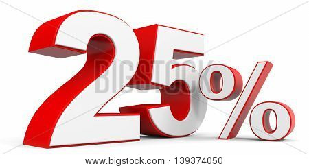 Discount 25 percent off sale. 3D illustration.