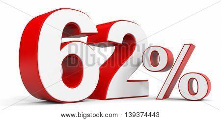 Discount 62 percent off sale. 3D illustration.