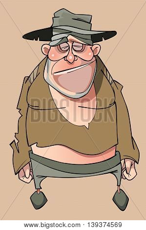 cartoon sad homeless man in tattered clothes