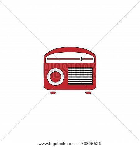 Retro revival radios tuner. Red flat simple modern illustration icon with stroke. Collection concept vector pictogram for infographic project and logo