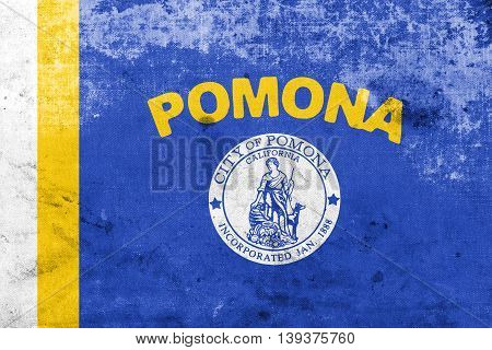 Flag Of Pomona, California, Usa, With A Vintage And Old Look