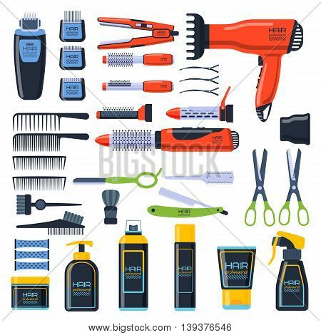 Set of vintage barber shop elements grooming saloon equipment. Haircutting tool icons set of silhouette barbershop objects. Beauty salon blade haircut fashion scissors barbershop vector icons. poster