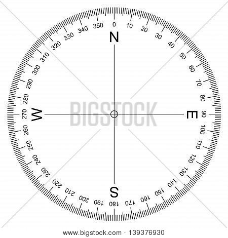 image of Compass Protractor vector isolated on white