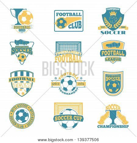 Set of european football, soccer labels, emblems and design championship elements. Vector set of soccer logo football tournament icon symbol. Soccer logo team emblem badge sport competition.