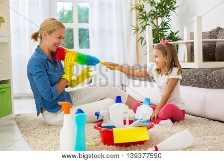Cute Daugter Tickles Mom