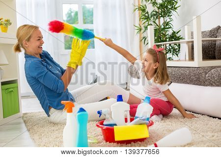 Tickles time family cleaning home, funny family moments