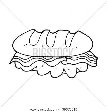 freehand drawn black and white cartoon huge sandwich