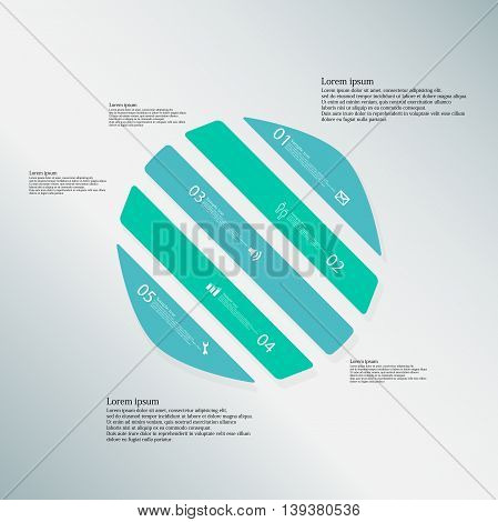 Circle Illustration Template Consists Of Five Blue Parts On Blue Background