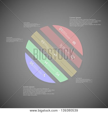 Circle Illustration Template Consists Of Five Color Parts On Dark Background