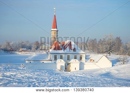 GATCHINA, RUSSIA - JANUARY 22, 2016: January cold day at the Priory Palace. The main landmark of the city Gatchina, Russia