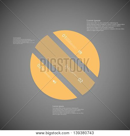 Illustration infographic template with shape of circle. Object askew divided to three parts with orange color. Each part contains Lorem Ipsum text number and sign. Background is dark.