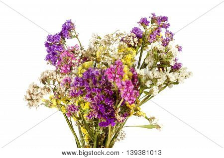 White Background Bouquet Of Colorful Wildflowers