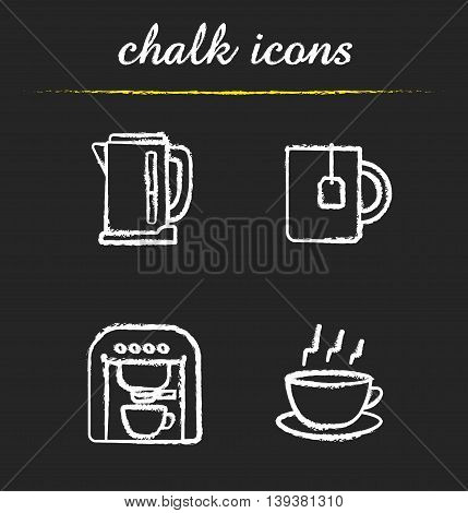Tea and coffee icons set. Electric kettle, mug with teabag, espresso machine and steming cup on plate illustrations. Isolated vector chalkboard drawings