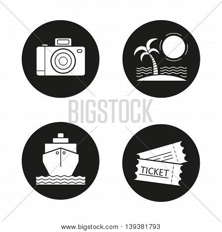 Travelling icons set. Holidays. Slr photo camera, sunny island with palm, cruise ship, tickets. Vector white illustrations in black circles