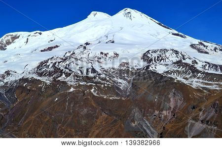 Snowy peaks of mount Elbrus. The highest mountain peak in Russia and Europe. Photo taken on:  November 4 Monday, 2013