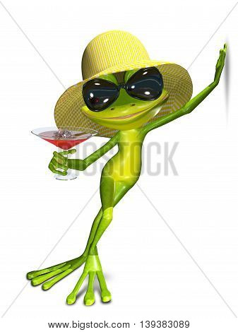 3d illustration of a green frog hat and cocktail with ice