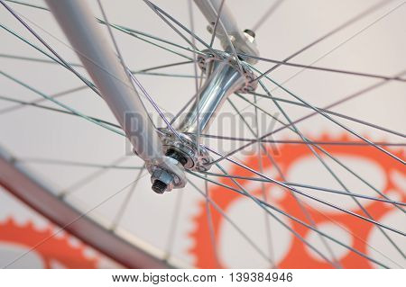 Bicycle Spoke Detail Closeup. Detail View With Hub And Spokes Of One Bicycle Wheel..