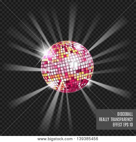 Disco ball with glow. Really tranparency effect. Disco background. Template for your design. Pink.