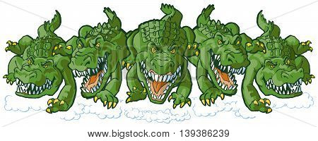 Vector cartoon clip art illustration of a group of tough mean alligator mascots charging or running forward. Each character is on a separate layer.