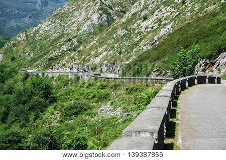 La Huesera, the famous Covadonga cycling ascending stretch road