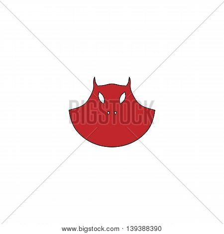 Executioner evil face mask. Red flat simple modern illustration icon with stroke. Collection concept vector pictogram for infographic project and logo