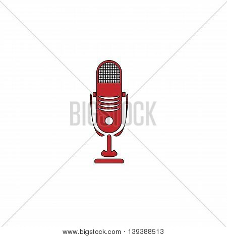 Simple retro microphone. Red flat simple modern illustration icon with stroke. Collection concept vector pictogram for infographic project and logo