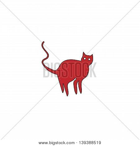 Evil Cat silhouette. Red flat simple modern illustration icon with stroke. Collection concept vector pictogram for infographic project and logo