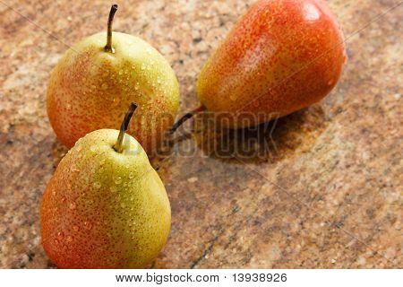 Three Ripe Forelle Pears