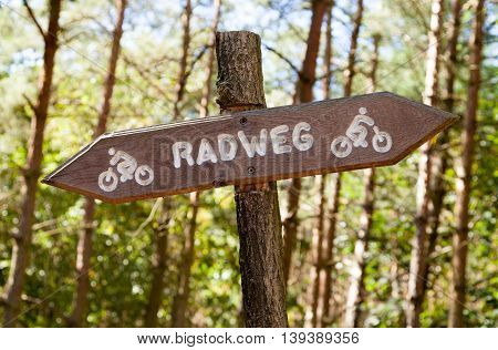 german Radweg cycleway sign in a forest