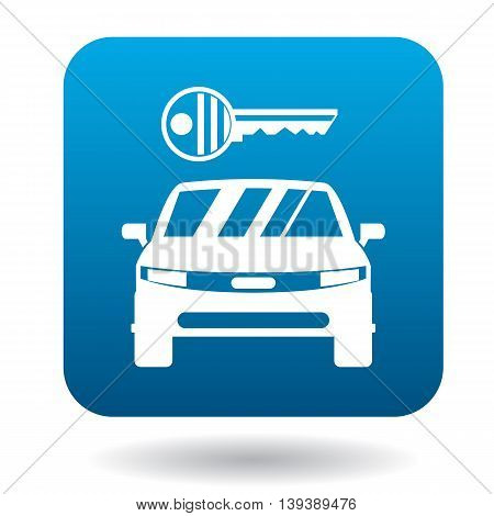 Car from impound yard icon in simple style in blue square. Transport and service symbol